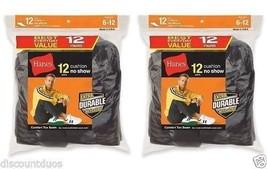 24-Pack Hanes Men's No-Show Black Socks -  Fits Shoe Size 6-12 - $36.09