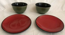Pier 1 Stoneware Soup Cups Rice Bowls w/Plates Tasting Party Green Burnt... - $19.99
