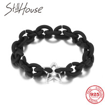 Ling silver men bracelet beads star black hard rubber bracelets fashion accessories for thumb200