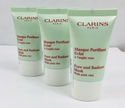 Clarins Pure and Radiant Cleanser Mask with Pink Clay  45ml (3 x 15ml) - $9.57