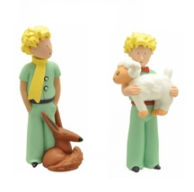 The Little Prince holding lamb and with fox 2 plastic figurine set Plastoy