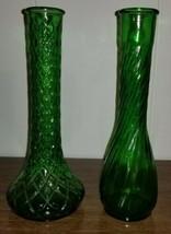 Vintage Hoosier green Glass Floral Bud Vase Indiana Syndicate Sales Vase - $13.97