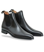 Men's Black Chelsea Jumper Slip On Matching Color Sole Genuine Leather Boots