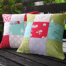 Handmade Christmas Pillow Cover Pair 14 Inch Retro Mid-Century Modern - $44.55
