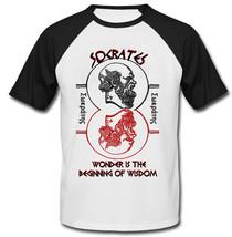 Socrates Wonder Quote - New Cotton Baseball Tshirt - $27.10