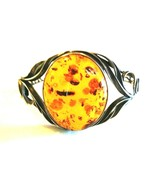 LARGE WIDE STERLING SILVER GENUINE AMBER BRACELET HINGED SAFETY CLASP - $200.00