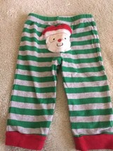 Carters Boys Green Gray Striped Red Santa Bottom Pants 12 Months  - $4.00