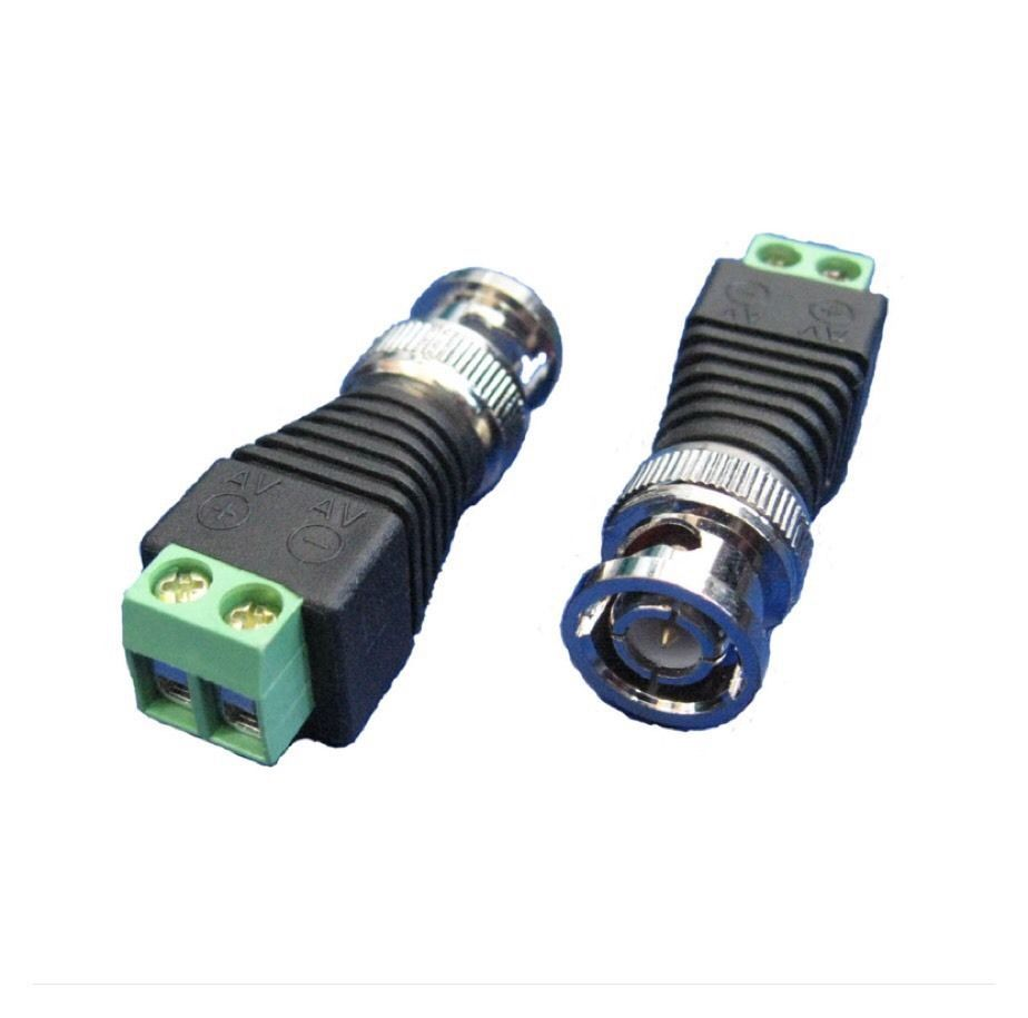 2 X BNC Male CCTV Coaxial Camera Adapter / Video Balun Connector AF2