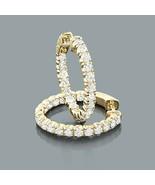 14K Yellow Gold Finish 2.00 Ct Created Diamond Inside-Outside Hoop Earri... - $74.79