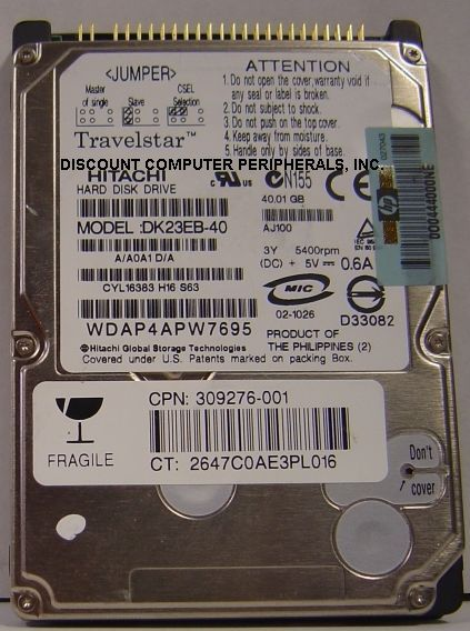 Hitachi DK23EB-40 40GB 2.5in IDE Drive Tested Good Free USA Ship Our Drives Work