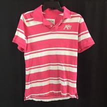 aeropostale Women a87 heritage stripe jersey polo shirt  Pink & White - $13.17