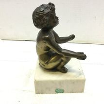 Vintage Cherub Metal Statue on White Marble Pedastal Base Made in Italy image 4