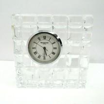 Waterford Crystal Table Desk Battery Clock Block Square Diamond Cut Quartz  - $24.70