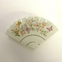 Vintage Avon Butterfly Fantasy Porcelain Treasure Fan Trinket Box 1980 - $13.29