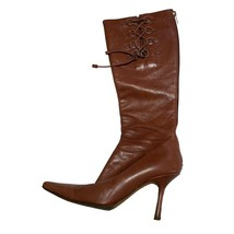 Jimmy Choo Womens Brown Leather Point-Toe Heeled Midi Boots Shoes Sz 8.5 (38.5) - $75.24