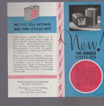 Burgess LIttle-Six Batteries Brochure 1930s Westinghouse Electric - $10.08