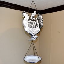 Enamel Metal Country Western Farm Barn Chicken Hen Chick Bird Seed Feeder Tray image 5
