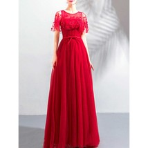Women Shiny Beads Flower Lace Wedding Dress - $149.99