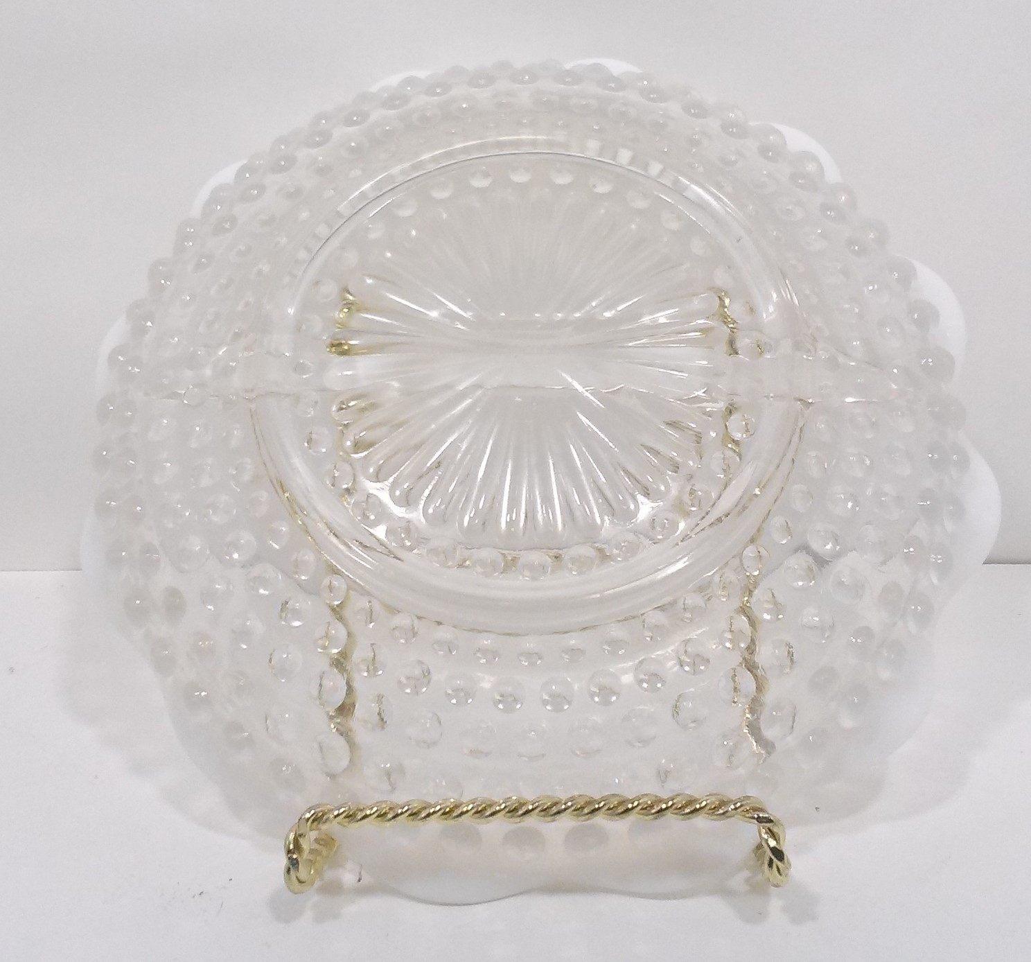 Anchor Hocking Moonstone 2 Part Relish Dish Opalescent crimped ruffled edges