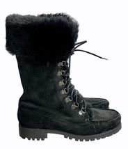 Lauren Ralph Lauren Shearling Cuffed Combat Boots Lace Up Size 8.5 M - $91.99