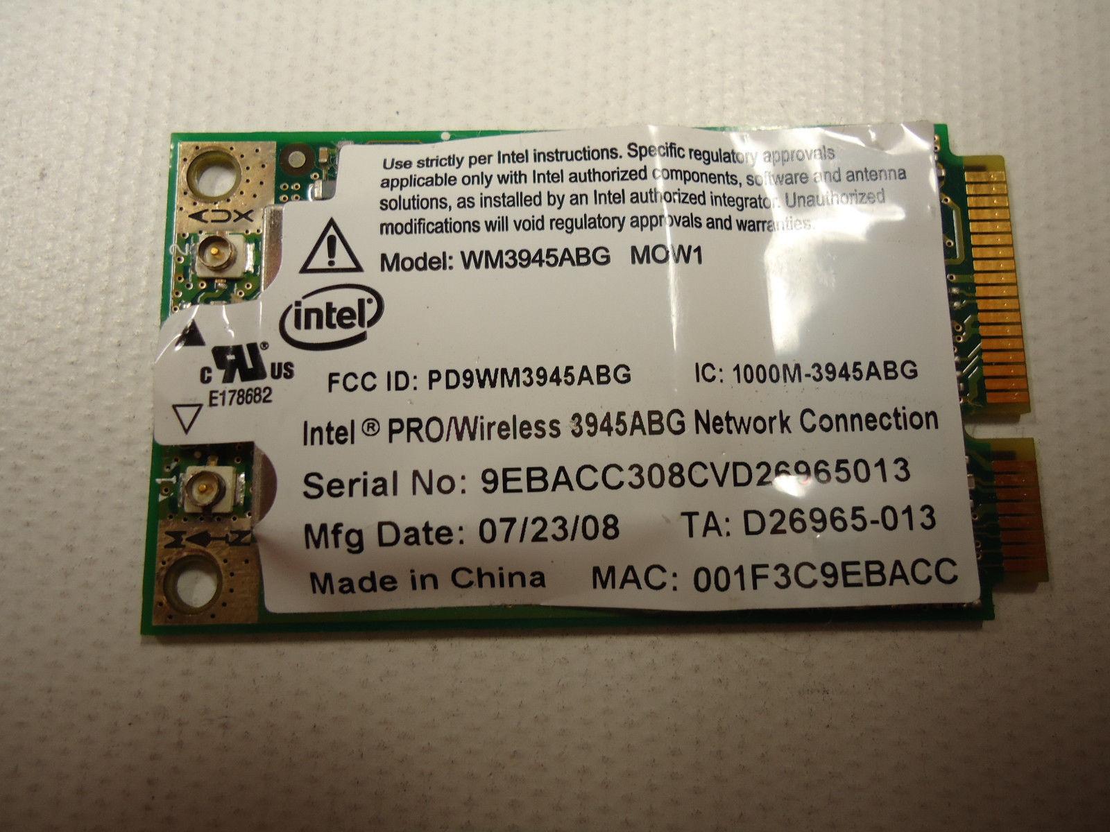 Intel Pro WM3945ABG MOW1 Wireless 802.11 bgn Mini PCIE Card