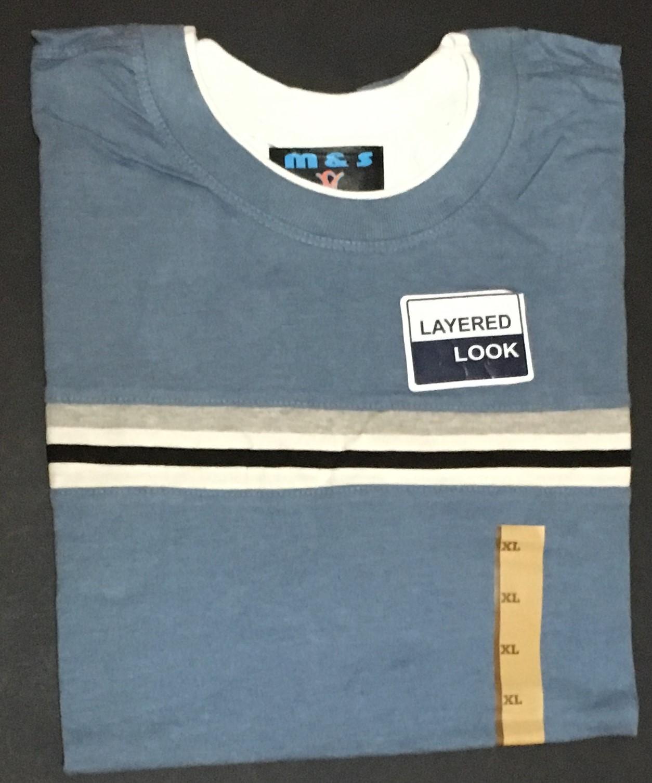 M&S Men's Blue Layered Look Shirt White, Gray & Black Stripes NWT Sz XL