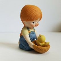 Enesco Country Cousins Figurine1981 Katie Girl with Yellow Chick in Nest... - $11.69