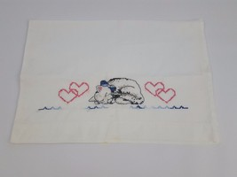Embroidered Sleeping Kitten Kitty Cat Pillowcase Hearts Needlepoint Cros... - $19.78