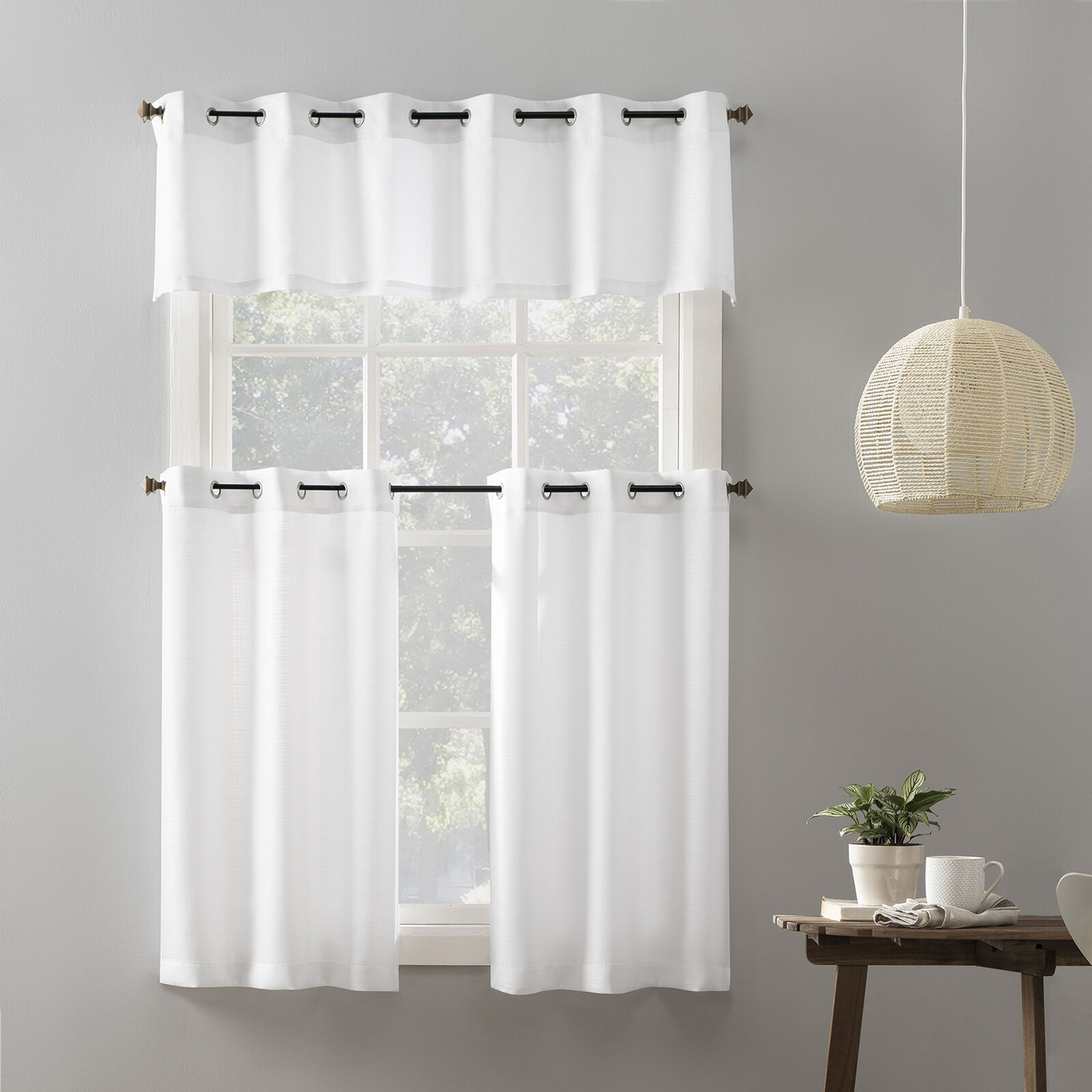 Primary image for Mainstays Elevated Solid 3 Piece Gromment Kitchen Curtain Set White