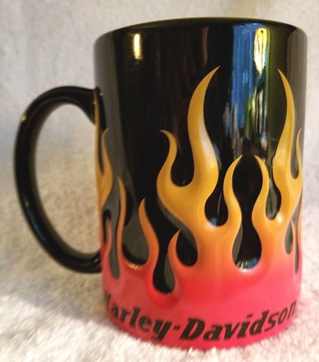 Harley Davidson Motorcycle Coffee Cup Mug Flames Oversize 2012