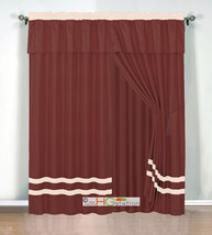 4-Pc Chic Stripe Solid Curtain Set Pleated Valance Drape Rust Orange Bei... - $40.89