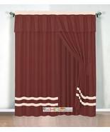 4-Pc Chic Stripe Solid Curtain Set Pleated Valance Drape Rust Orange Bei... - $40.89