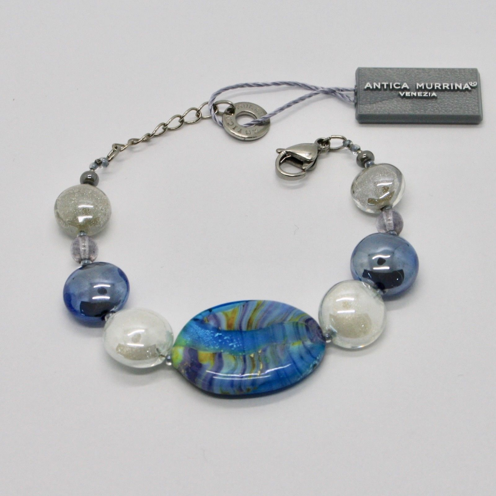 BRACELET ANTICA MURRINA VENEZIA WITH MURANO GLASS BLUE WHITE GREY BR794A07