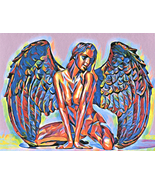 Nude chakra Angel abstract woman original art print modern colorful - $3.99