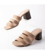 Massimo Dutti Womens High Heeled Sandals Wooden Heels Sz 6 Eu 36 Beige 6... - $79.19