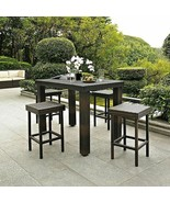 Outdoor Brown Resin Wicker 5 Piece Bar Height Patio Dining Set Table 4 S... - $499.90