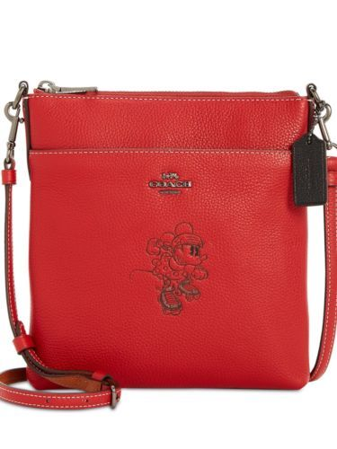 COACH MINNIE MOTIF MESSENGER CROSSBODY PURSE BAG LEATHER RED NEW WITH TAGS