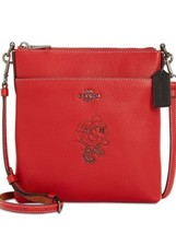 COACH MINNIE MOTIF MESSENGER CROSSBODY PURSE BAG LEATHER RED NEW WITH TAGS - $165.00