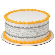Happy Anniversary Silver Edible Cake Topper Image Strips - $9.99
