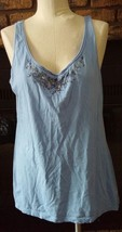 Old Navy Womens Light Blue Floral Beaded Embellished Tank Top Size Large - $12.46