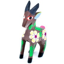 Handmade Alebrijes Oaxacan Wood Carving Painted Folk Art Mountain Goat Figurine  image 2