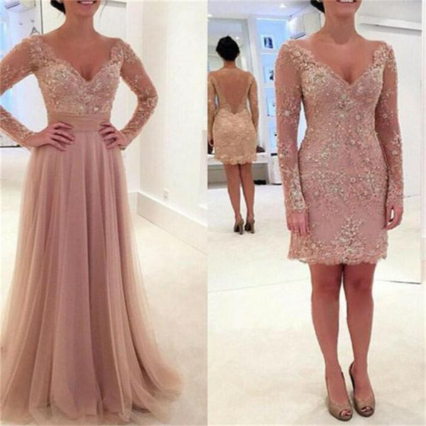 Charming long sleeve lace tulle pink v neck sexy prom dresses 2017 pd0034