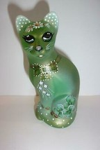 Fenton Glass Green Opal Good Luck Shamrock Stylized Cat Ltd Ed K Barley ... - $212.92