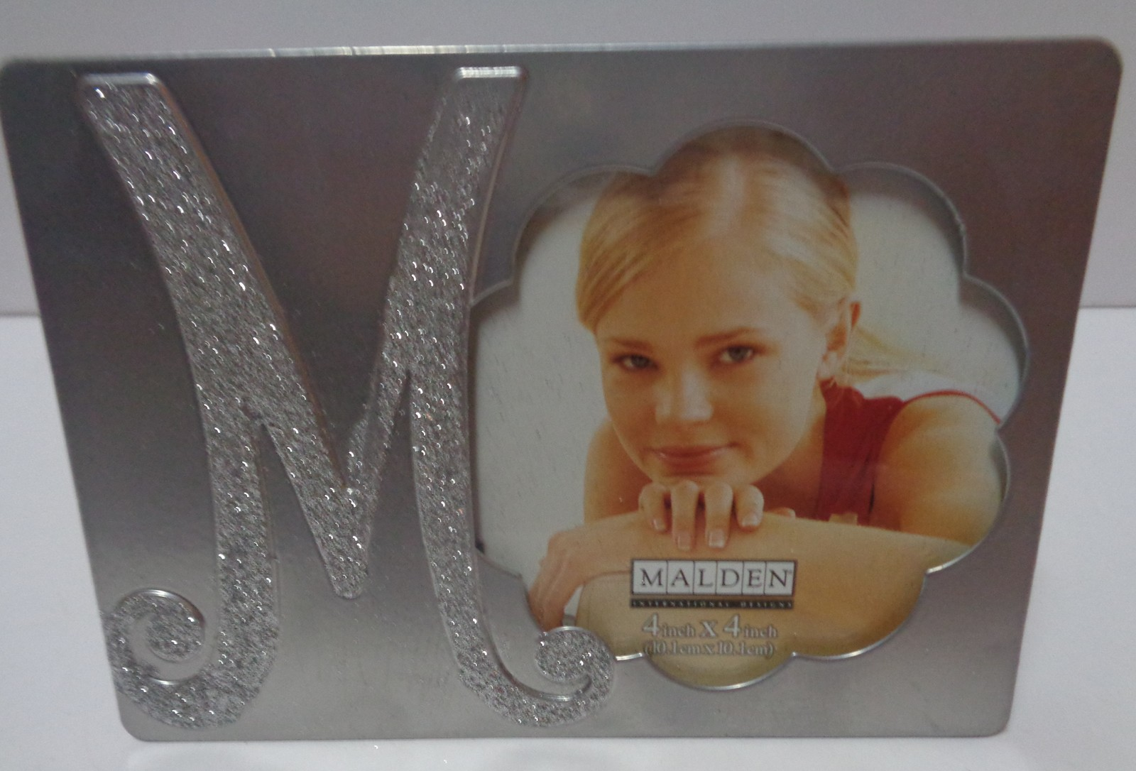 Malden Photo Frame 4x4 Monogrammed Personalized Initial NWT Silver Sparkle
