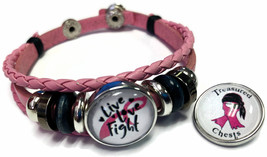 Breast Cancer Treasured Chests Pink Leather Bracelet W/2 Snap Jewelry Charms - $22.95
