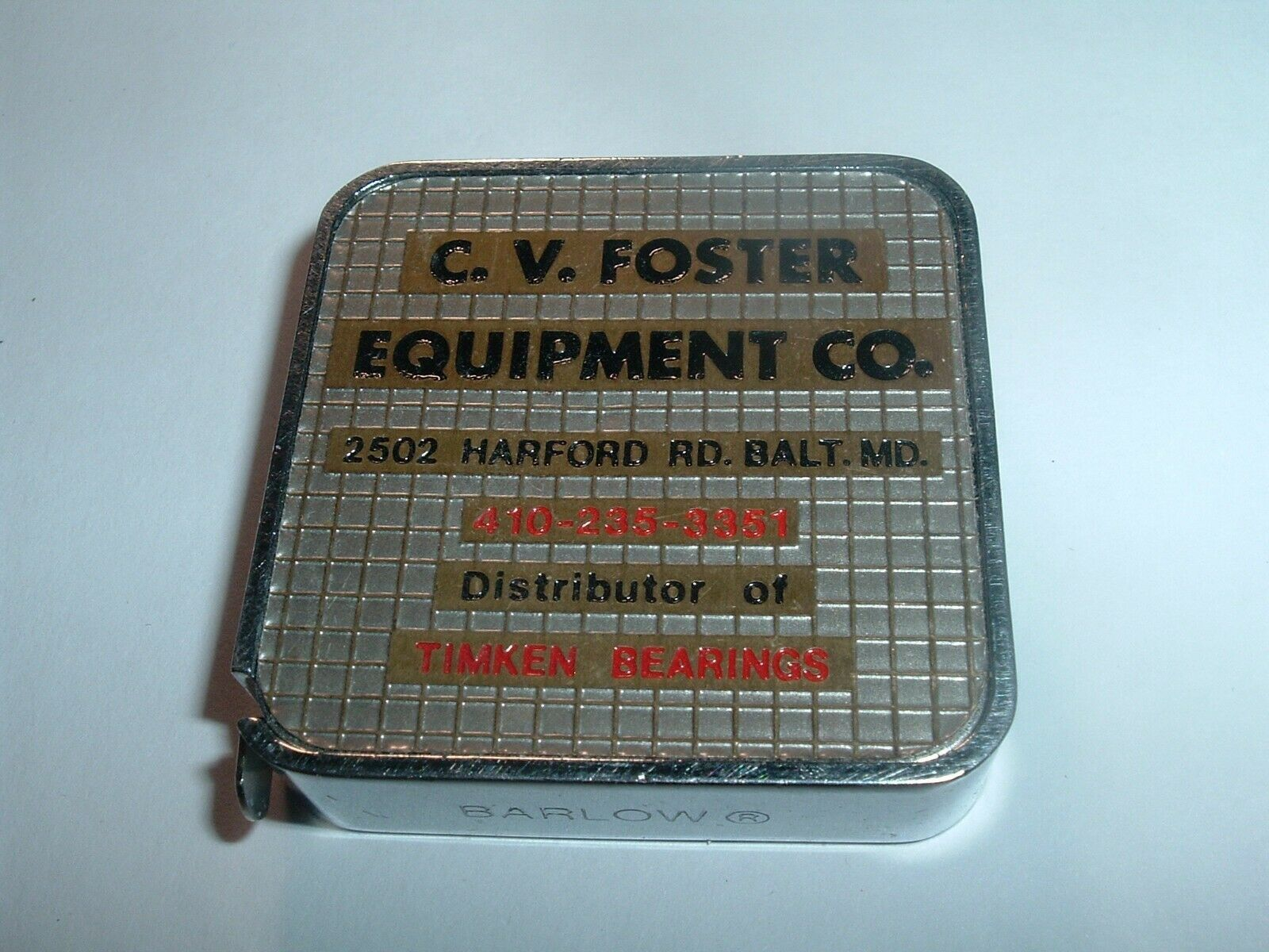 Primary image for Vintage 1970s  Baltimore Barlow tape Measure C.V. Foster / Timken Bearings