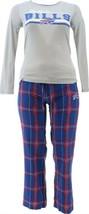 NFL Women's Pajama Set Long Slv Top Flannel Pants Bills XXXL NEW A387687 - $30.67