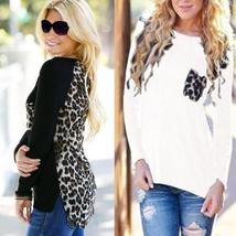 Autumn Winter Women Leopard Stitching Knit Plus Size Long Sleeve T-shirt Bottomi
