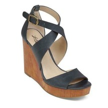 LUCKY BRAND Lyndell Blue Leather Wood Wedge Platform Sandals Women's size 7 - $35.63