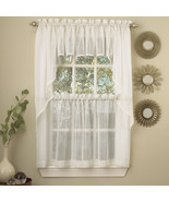Harmony White Micro Stripe Semi Sheer Kitchen Curtains Tier or Valance o... - $9.29+